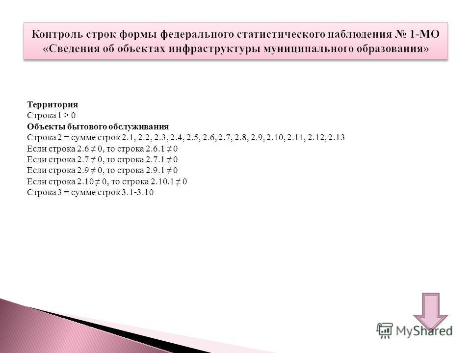 Территория Строка 1 > 0 Объекты бытового обслуживания Строка 2 = сумме строк 2.1, 2.2, 2.3, 2.4, 2.5, 2.6, 2.7, 2.8, 2.9, 2.10, 2.11, 2.12, 2.13 Если строка 2.6 0, то строка 2.6.1 0 Если строка 2.7 0, то строка 2.7.1 0 Если строка 2.9 0, то строка 2.