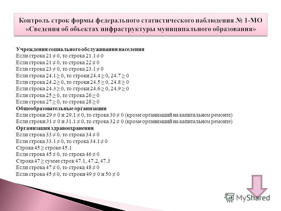 Учреждения социального обслуживания населения Если строка 21 0, то строка 21.1 0 Если строка 21 0, то строка 22 0 Если строка 23 0, то строка 23.1 0 Если строка 24.1 0, то строки 24.4 0, 24.7 0 Если строка 24.2 0, то строки 24.5 0, 24.8 0 Если строка
