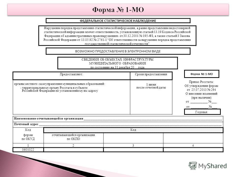 ФЕДЕРАЛЬНОЕ СТАТИСТИЧЕСКОЕ НАБЛЮДЕНИЕ Нарушение порядка представления статистической информации, а равно представление недостоверной статистической информации влечет ответственность, установленную статьей 13.19 Кодекса Российской Федерации об админис