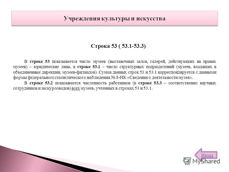 В строке 53 показывается число музеев (выставочных залов, галерей, действующих на правах музеев) – юридические лица, в строке 53.1 – число структурных подразделений (музеев, входящих в объединенные дирекции, музеев-филиалов). Сумма данных строк 53 и