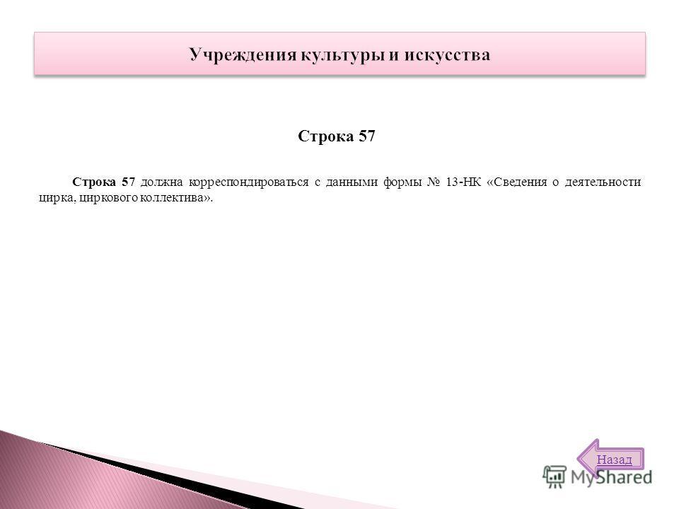 Строка 57 должна корреспондироваться с данными формы 13-НК «Сведения о деятельности цирка, циркового коллектива». Строка 57 Назад
