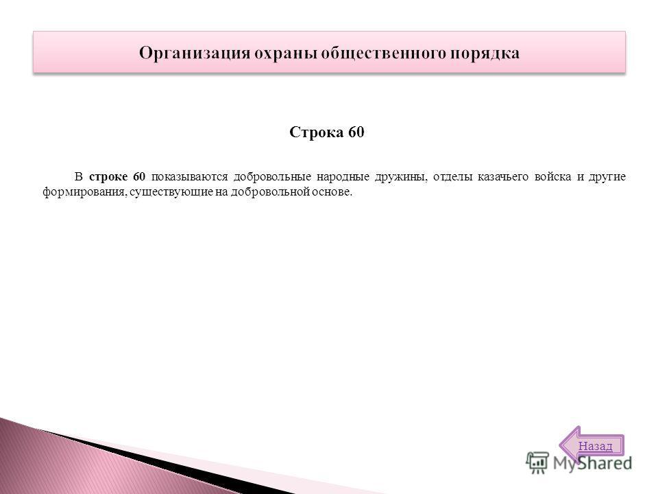 В строке 60 показываются добровольные народные дружины, отделы казачьего войска и другие формирования, существующие на добровольной основе. Строка 60 Назад