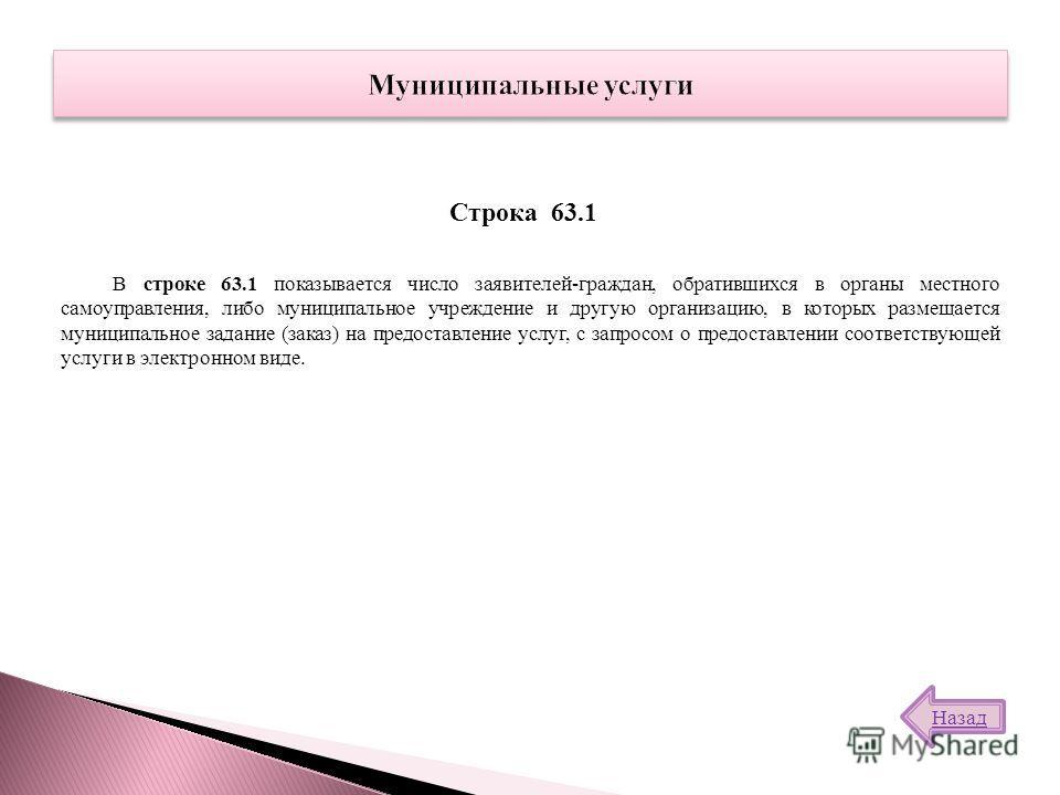 В строке 63.1 показывается число заявителей-граждан, обратившихся в органы местного самоуправления, либо муниципальное учреждение и другую организацию, в которых размещается муниципальное задание (заказ) на предоставление услуг, с запросом о предоста