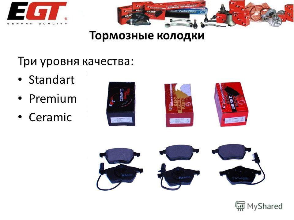 Тормозные колодки Три уровня качества: Standart Premium Ceramic
