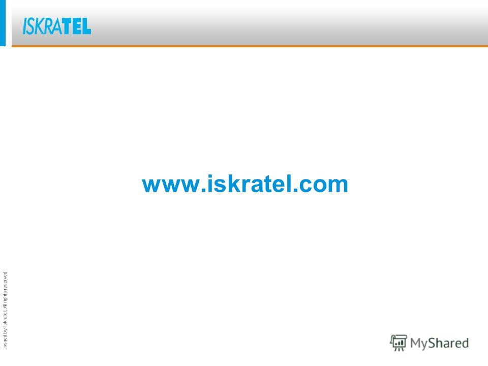 Issued by Iskratel; All rights reserved www.iskratel.com