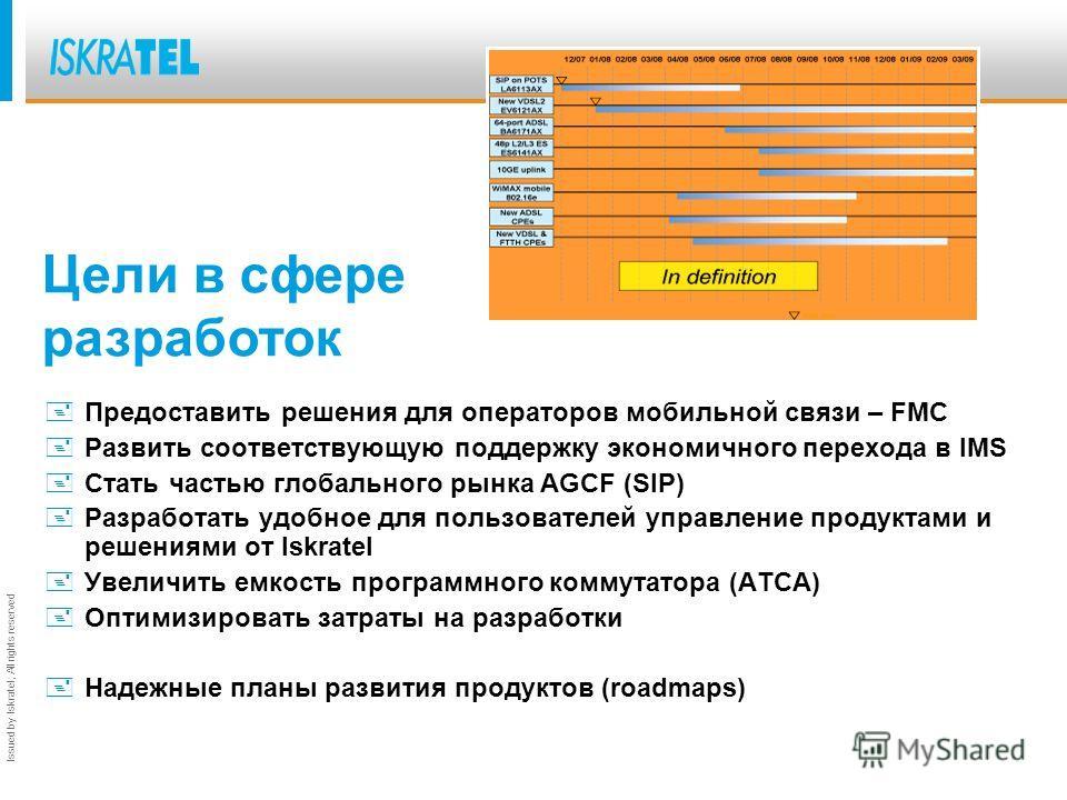 Issued by Iskratel; All rights reserved +Предоставить решения для операторов мобильной связи – FMC +Развить соответствующую поддержку экономичного перехода в IMS +Стать частью глобального рынка AGCF (SIP) +Разработать удобное для пользователей управл