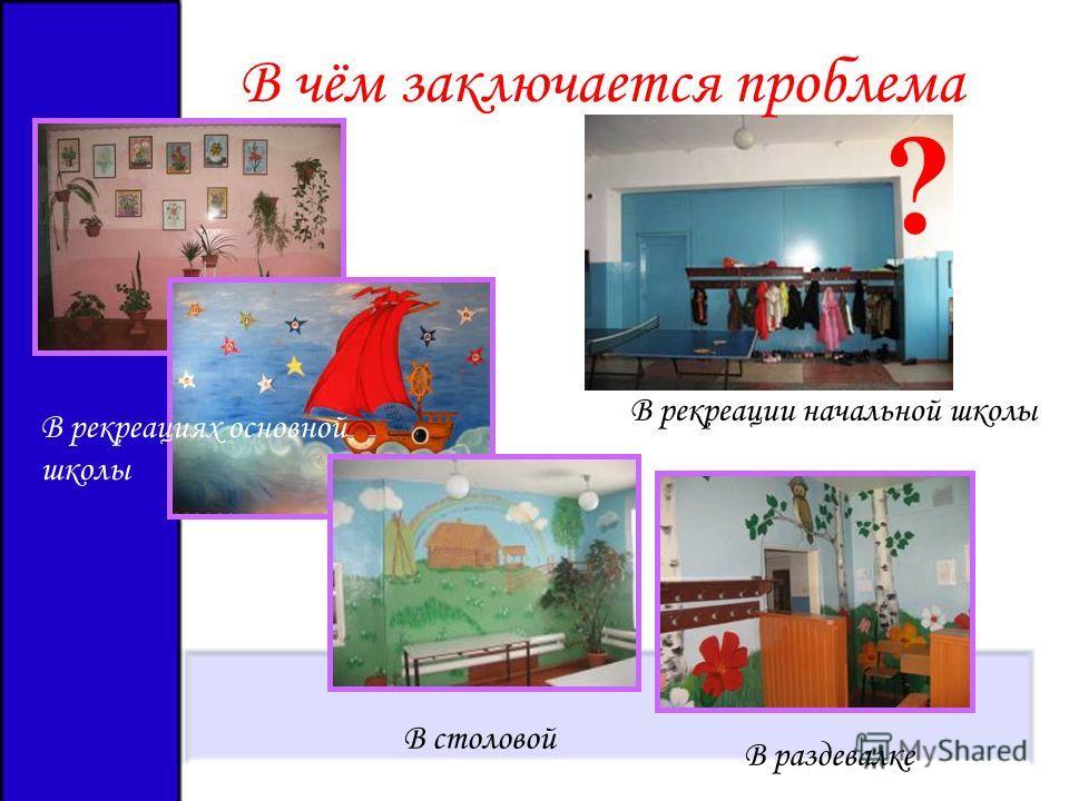 ? В чём заключается проблема В рекреациях основной школы В столовой В раздевалке В рекреации начальной школы