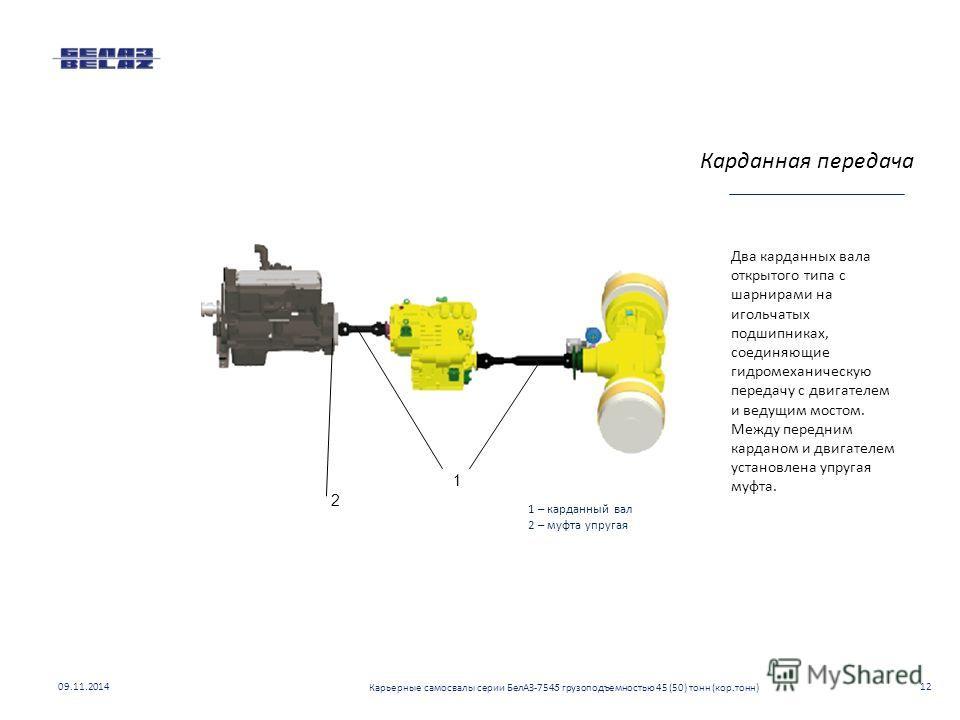 Два карданных вала открытого типа с шарнирами на игольчатых подшипниках, соединяющие гидромеханическую передачу с двигателем и ведущим мостом. Между передним карданом и двигателем установлена упругая муфта. 2 1 1 – карданный вал 2 – муфта упругая Кар