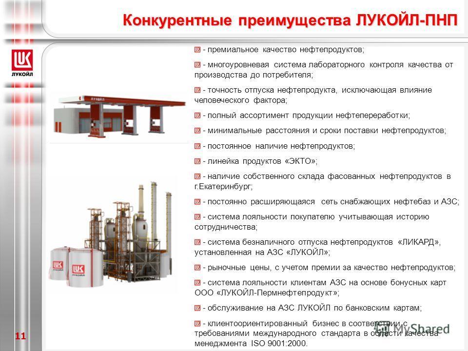 11 Конкурентные преимущества ЛУКОЙЛ-ПНП - премиальное качество нефтепродуктов; - многоуровневая система лабораторного контроля качества от производства до потребителя; - точность отпуска нефтепродукта, исключающая влияние человеческого фактора; - пол