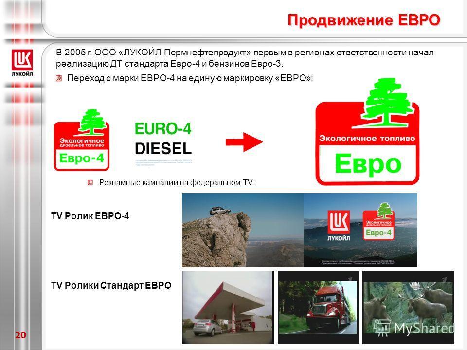 20 В 2005 г. ООО «ЛУКОЙЛ-Пермнефтепродукт» первым в регионах ответственности начал реализацию ДТ стандарта Евро-4 и бензинов Евро-3. Переход с марки ЕВРО-4 на единую маркировку «ЕВРО»: Рекламные кампании на федеральном TV: ТV Ролики Стандарт ЕВРО ТV