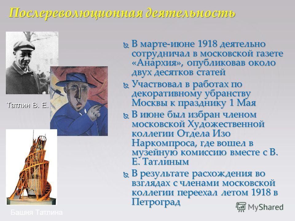 В марте-июне 1918 деятельно сотрудничал в московской газете «Анархия», опубликовав около двух десятков статей В марте-июне 1918 деятельно сотрудничал в московской газете «Анархия», опубликовав около двух десятков статей Участвовал в работах по декора