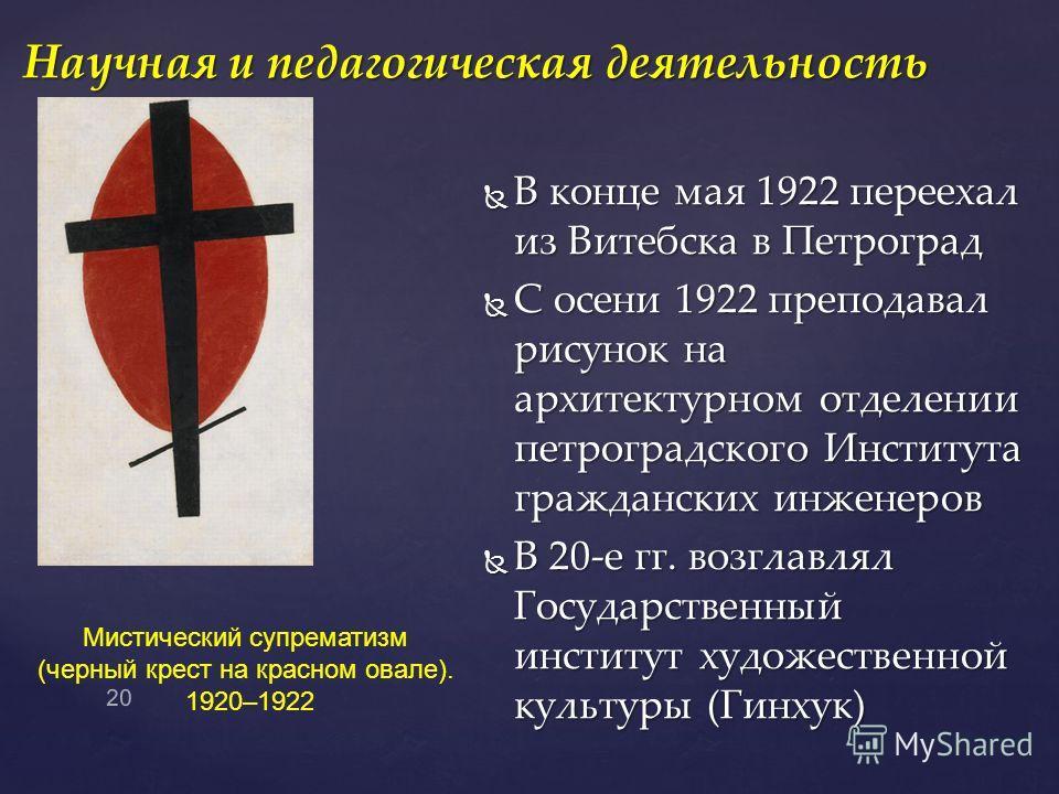 В конце мая 1922 переехал из Витебска в Петроград В конце мая 1922 переехал из Витебска в Петроград С осени 1922 преподавал рисунок на архитектурном отделении петроградского Института гражданских инженеров С осени 1922 преподавал рисунок на архитекту