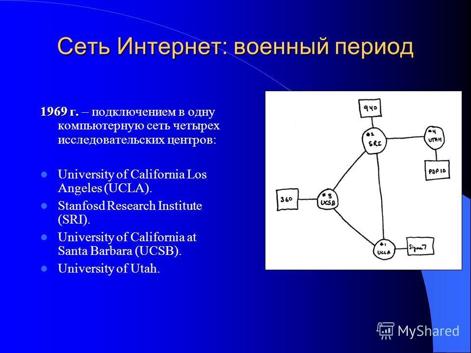 Сеть Интернет: военный период 1969 г. 1969 г. – подключением в одну компьютерную сеть четырех исследовательских центров: University of California Los Angeles (UCLA). Stanfosd Research Institute (SRI). University of California at Santa Barbara (UCSB).