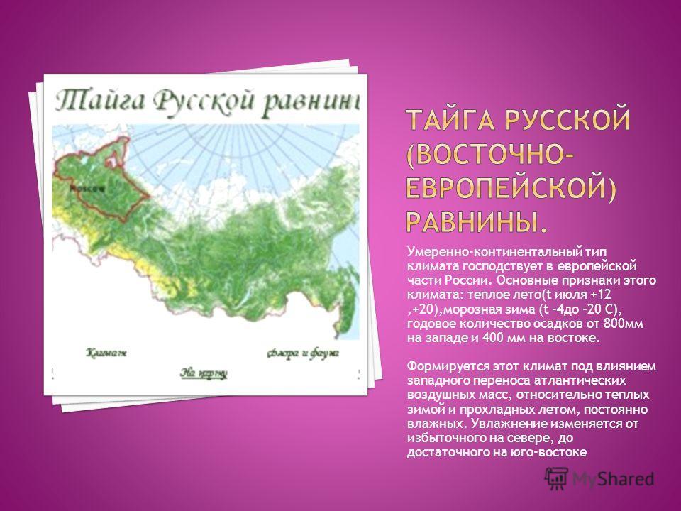 Умеренно-континентальный тип климата господствует в европейской части России. Основные признаки этого климата: теплое лето(t июля +12,+20),морозная зима (t -4 до -20 С), годовое количество осадков от 800 мм на западе и 400 мм на востоке. Формируется