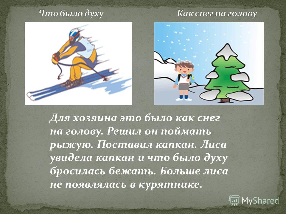 Для хозяина это было как снег на голову. Решил он поймать рыжую. Поставил капкан. Лиса увидела капкан и что было духу бросилась бежать. Больше лиса не появлялась в курятнике.