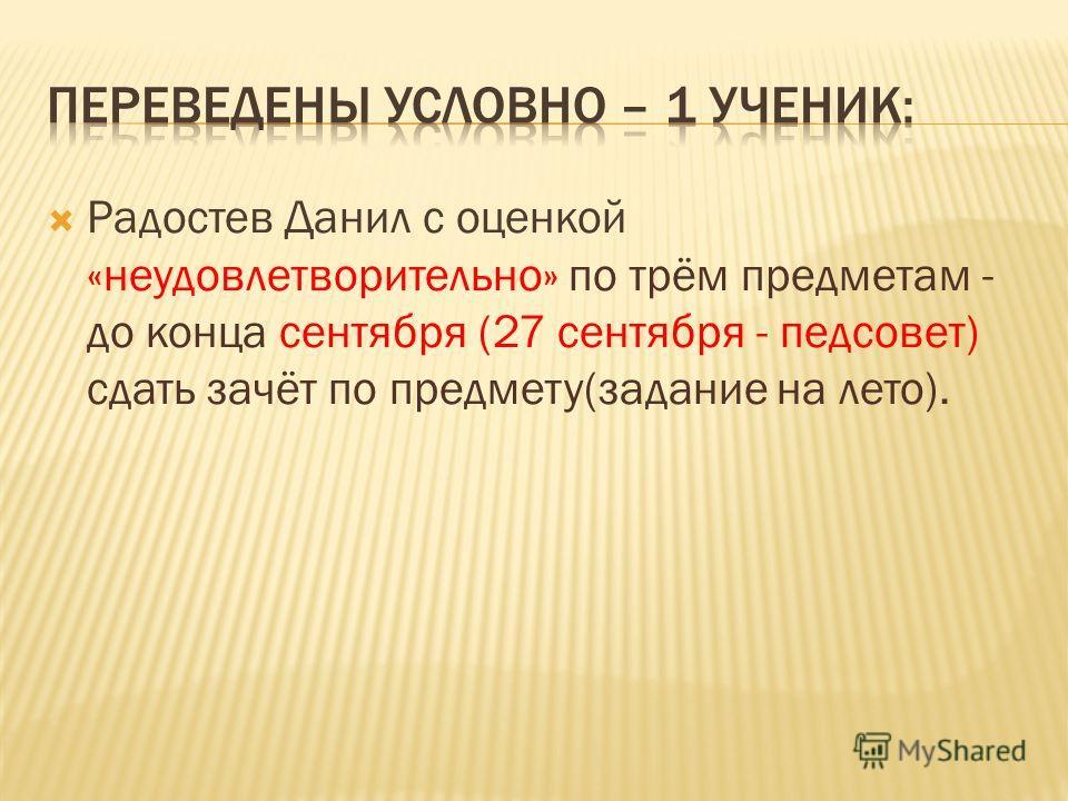 Радостев Данил с оценкой «неудовлетворительно» по трём предметам - до конца сентября (27 сентября - педсовет) сдать зачёт по предмету(задание на лето).