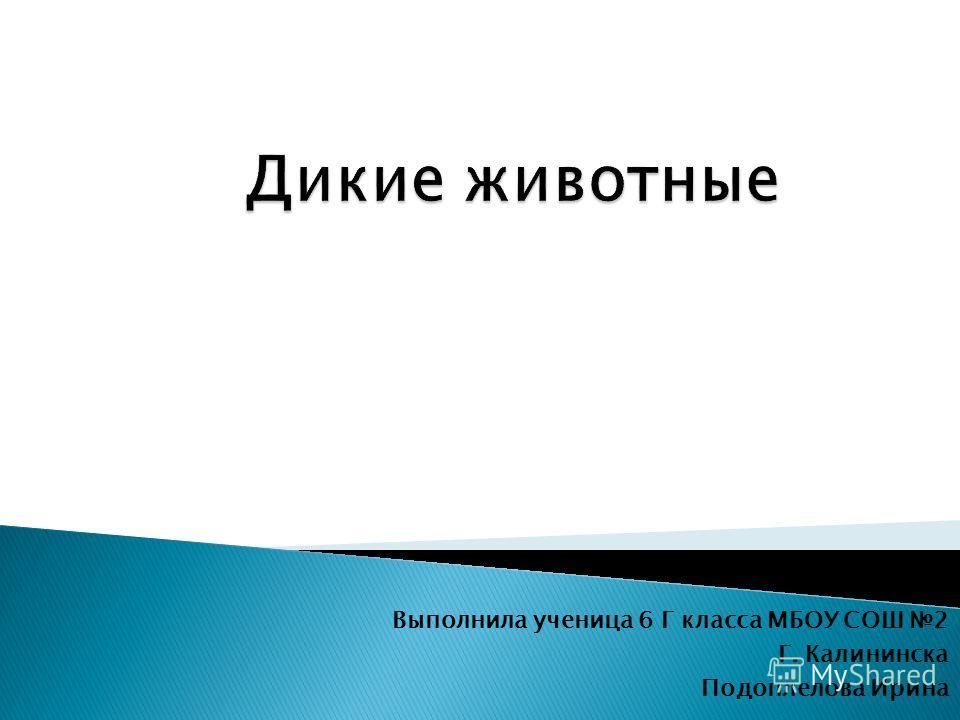 Выполнила ученица 6 Г класса МБОУ СОШ 2 Г. Калининска Подоплелова Ирина