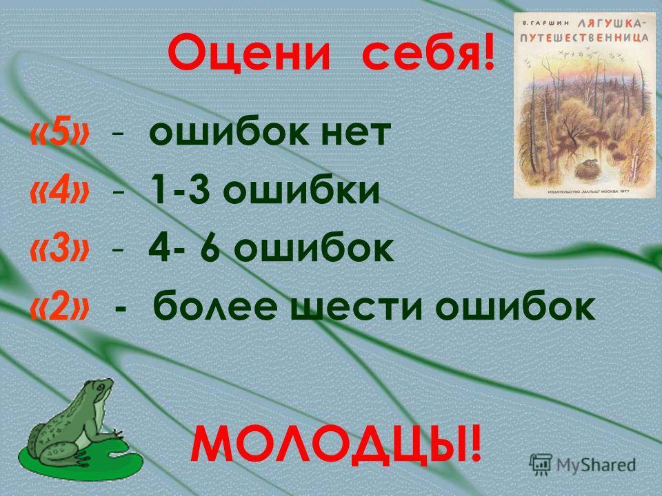 Оцени себя! «5» - ошибок нет «4» - 1-3 ошибки «3» - 4- 6 ошибок «2» - более шести ошибок МОЛОДЦЫ!