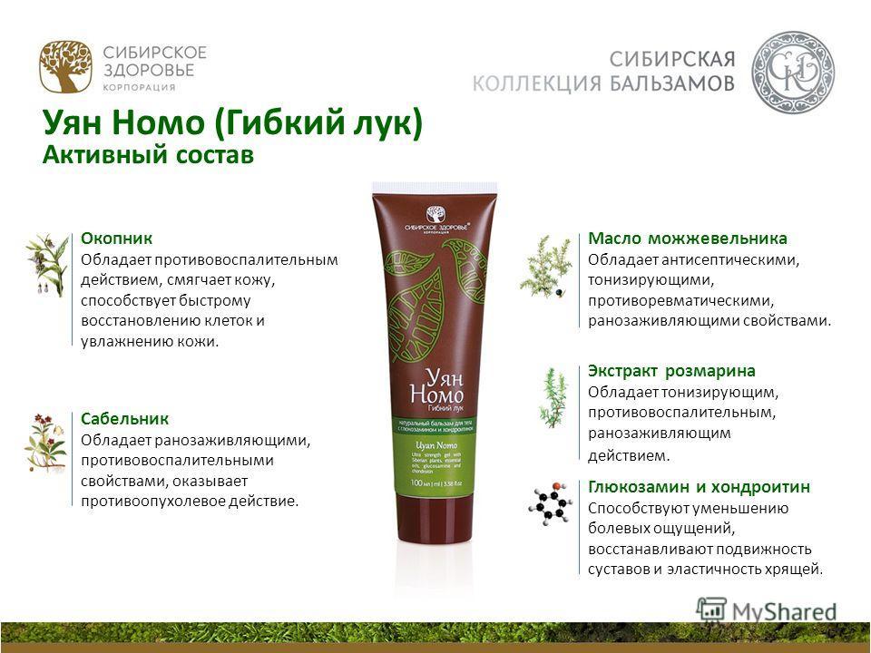 Окопник Обладает противовоспалительным действием, смягчает кожу, способствует быстрому восстановлению клеток и увлажнению кожи. Сабельник Обладает ранозаживляющими, противовоспалительными свойствами, оказывает противоопухолевое действие. Экстракт роз