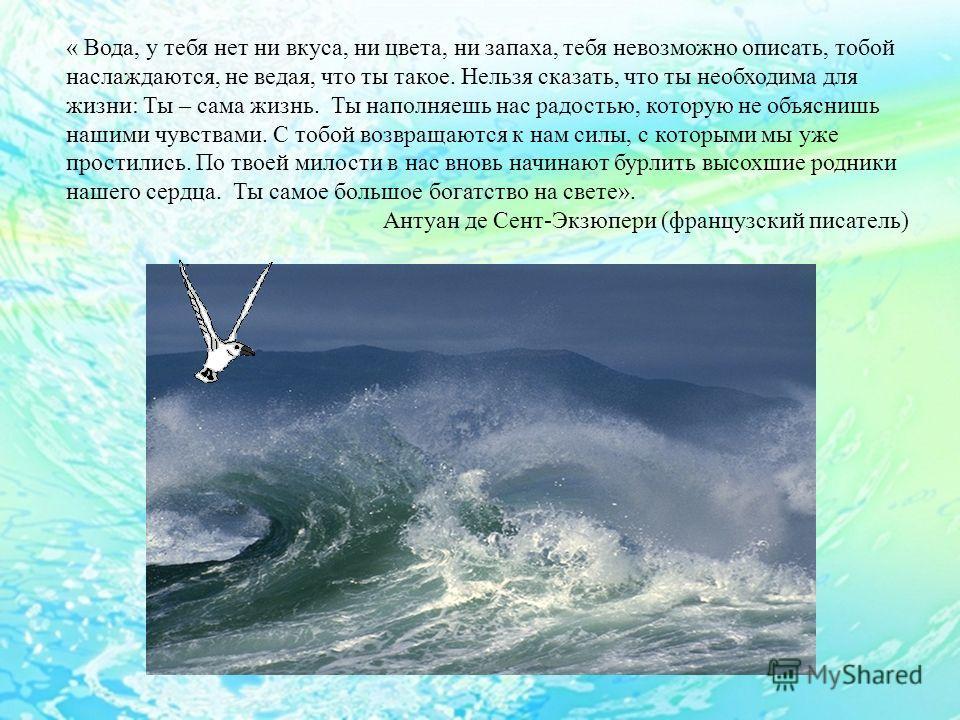 « Вода, у тебя нет ни вкуса, ни цвета, ни запаха, тебя невозможно описать, тобой наслаждаются, не ведая, что ты такое. Нельзя сказать, что ты необходима для жизни: Ты – сама жизнь. Ты наполняешь нас радостью, которую не объяснишь нашими чувствами. С