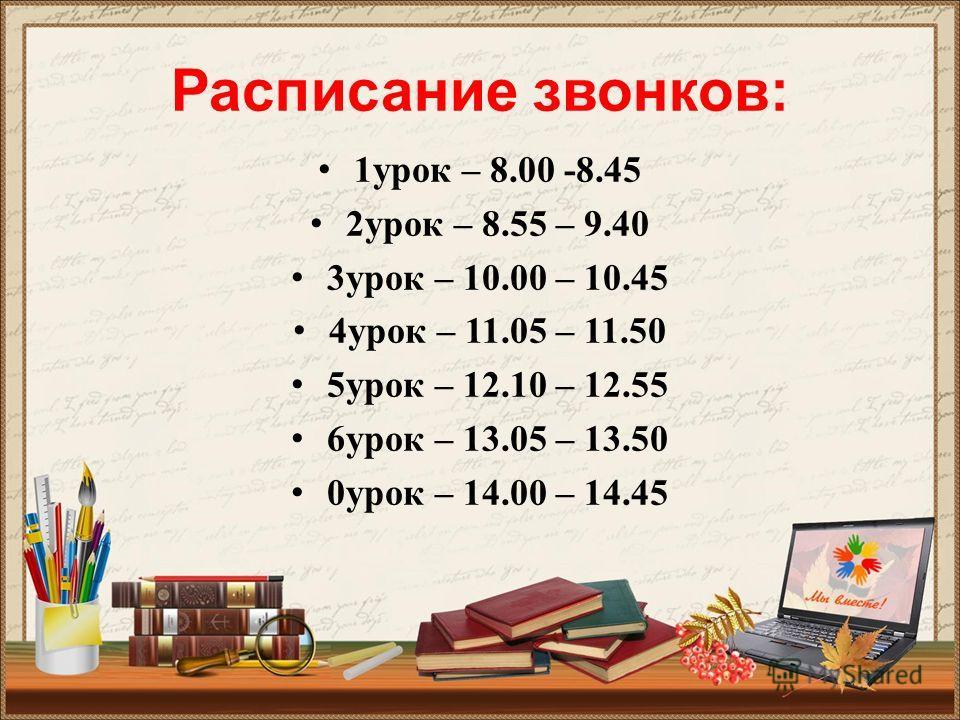 Расписание звонков: 1 урок – 8.00 -8.45 2 урок – 8.55 – 9.40 3 урок – 10.00 – 10.45 4 урок – 11.05 – 11.50 5 урок – 12.10 – 12.55 6 урок – 13.05 – 13.50 0 урок – 14.00 – 14.45