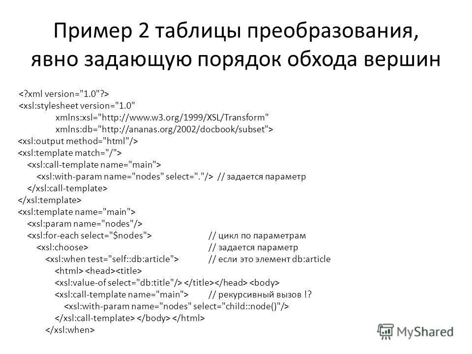 Пример 2 таблицы преобразования, явно задающую порядок обхода вершин  // задается параметр // цикл по параметрам // задается параметр // если это элемент db:article // рекурсивный вызов !?