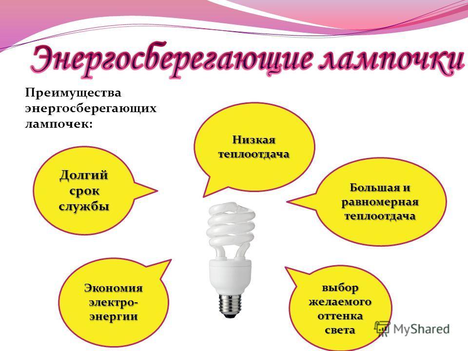 Преимущества энергосберегающих лампочек: Большая и равномерная теплоотдача выбор желаемого оттенка света Экономия электро- энергии Низкая теплоотдача Долгий срок службы