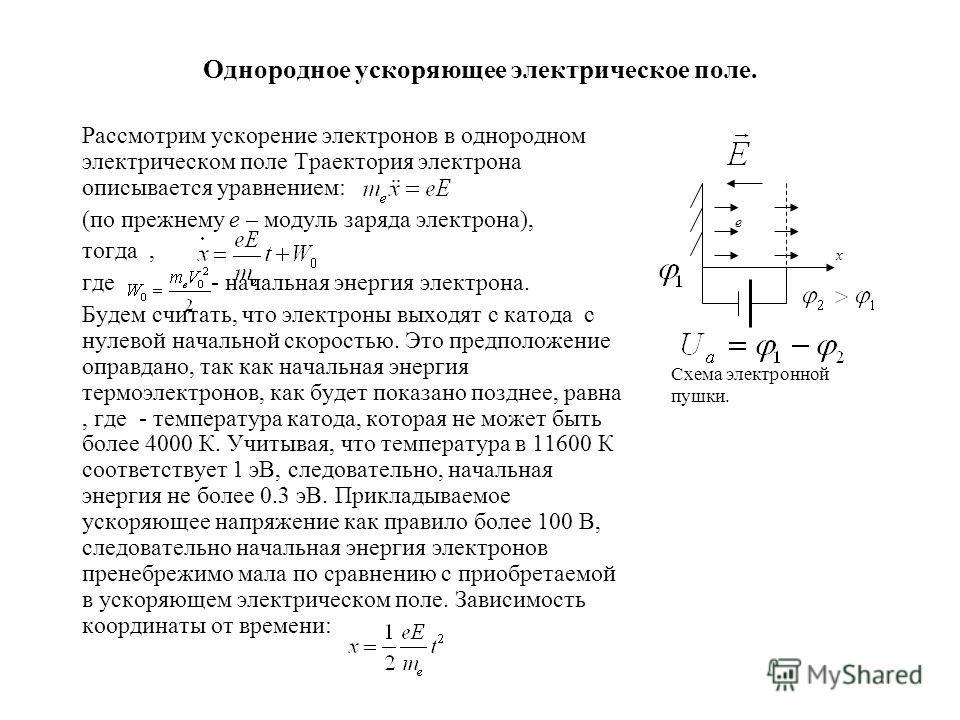 Однородное ускоряющее электрическое поле. Рассмотрим ускорение электронов в однородном электрическом поле Траектория электрона описывается уравнением: (по прежнему e – модуль заряда электрона), тогда, где - начальная энергия электрона. Будем считать,