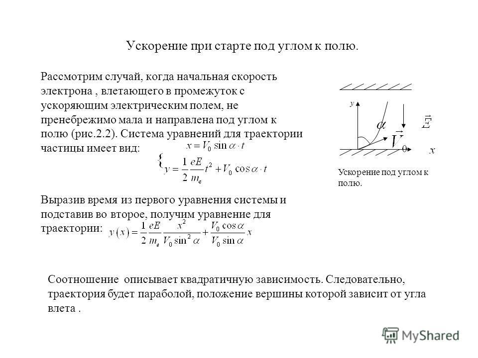 Ускорение при старте под углом к полю. Рассмотрим случай, когда начальная скорость электрона, влетающего в промежуток с ускоряющим электрическим полем, не пренебрежимо мала и направлена под углом к полю (рис.2.2). Система уравнений для траектории час