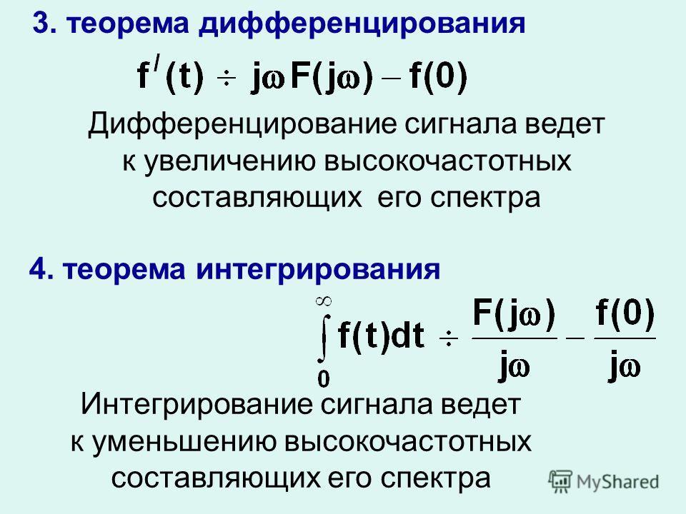 3. теорема дифференцирования Дифференцирование сигнала ведет к увеличению высокочастотных составляющих его спектра 4. теорема интегрирования Интегрирование сигнала ведет к уменьшению высокочастотных составляющих его спектра