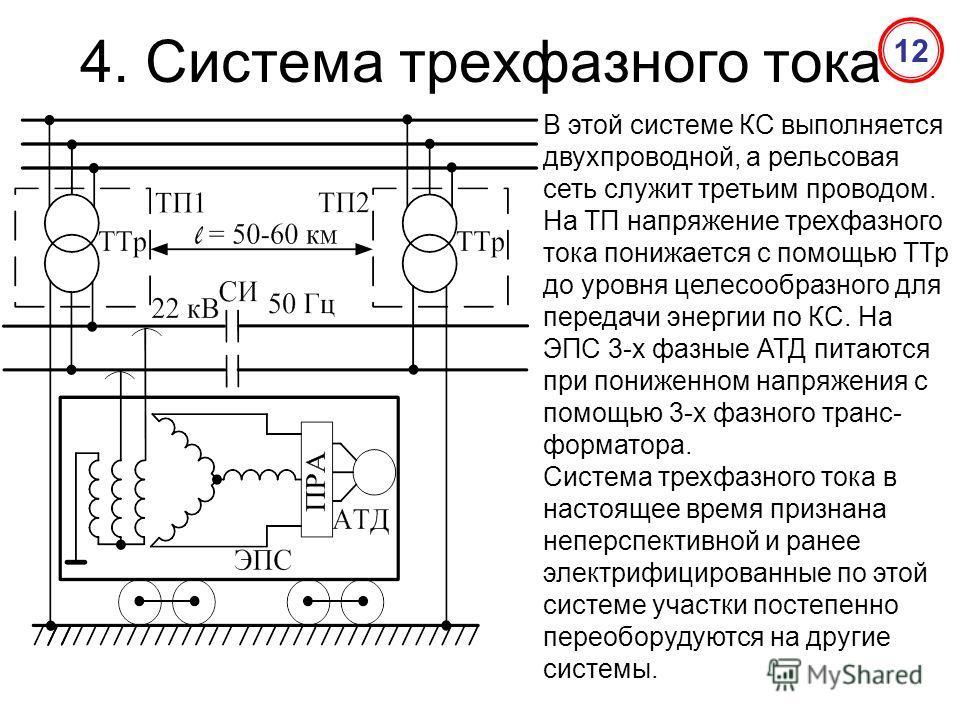4. Система трехфазного тока В этой системе КС выполняется двухпроводной, а рельсовая сеть служит третьим проводом. На ТП напряжение трехфазного тока понижается с помощью ТТр до уровня целесообразного для передачи энергии по КС. На ЭПС 3-х фазные АТД