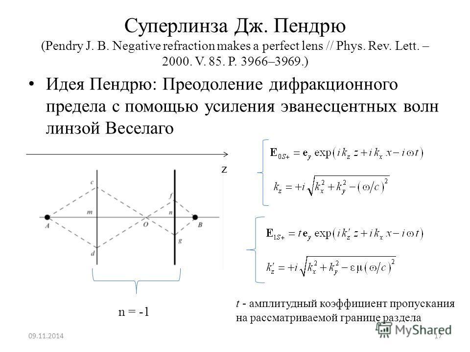 Суперлинза Дж. Пендрю (Pendry J. B. Negative refraction makes a perfect lens // Phys. Rev. Lett. – 2000. V. 85. P. 3966–3969.) Идея Пендрю: Преодоление дифракционного предела с помощью усиления эванесцентных волн линзой Веселаго 09.11.201417 t - ампл