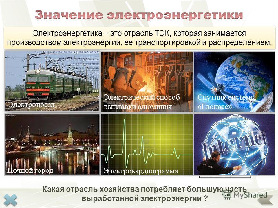 От уровня ее развития зависит все народное хозяйство страны. Россия на 4 месте в мире (952 млрд к Вт*ч) по производству электроэнергии Электропоезд Ночной город Электрический способ выплавки алюминия Электрокардиограмма Спутник системы «Глонасс» Элек