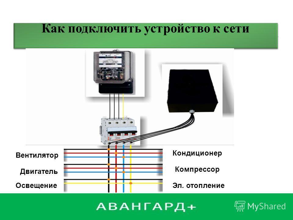 Как подключить устройство к сети Вентилятор Двигатель Освещение Кондиционер Компрессор Эл. отопление