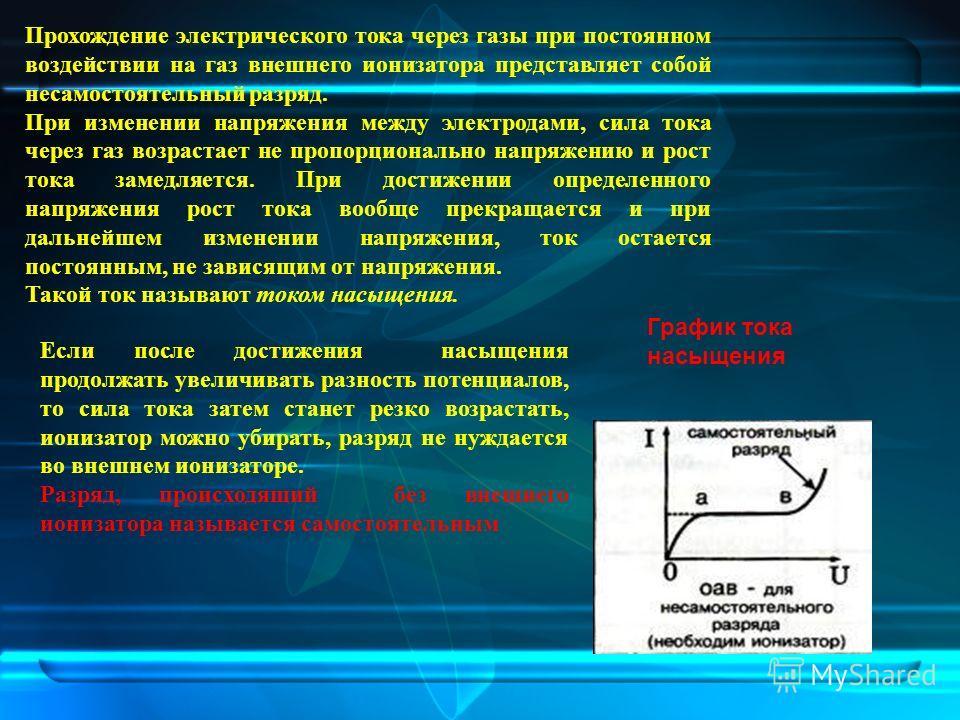 Прохождение электрического тока через газы при постоянном воздействии на газ внешнего ионизатора представляет собой несамостоятельный разряд. При изменении напряжения между электродами, сила тока через газ возрастает не пропорционально напряжению и р
