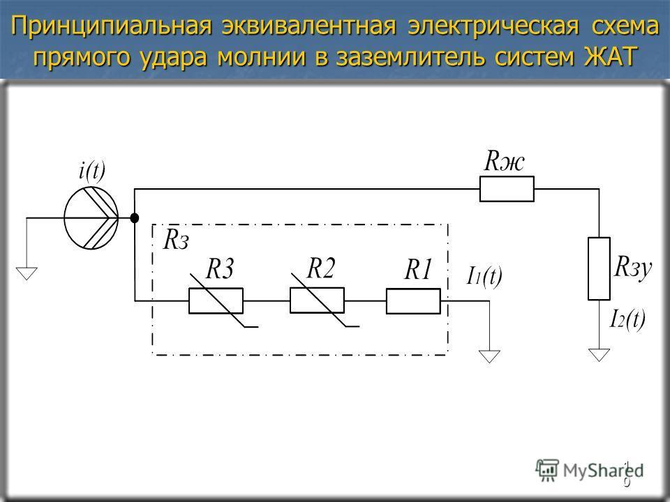 Принципиальная эквивалентная электрическая схема прямого удара молнии в заземлитель систем ЖАТ 10