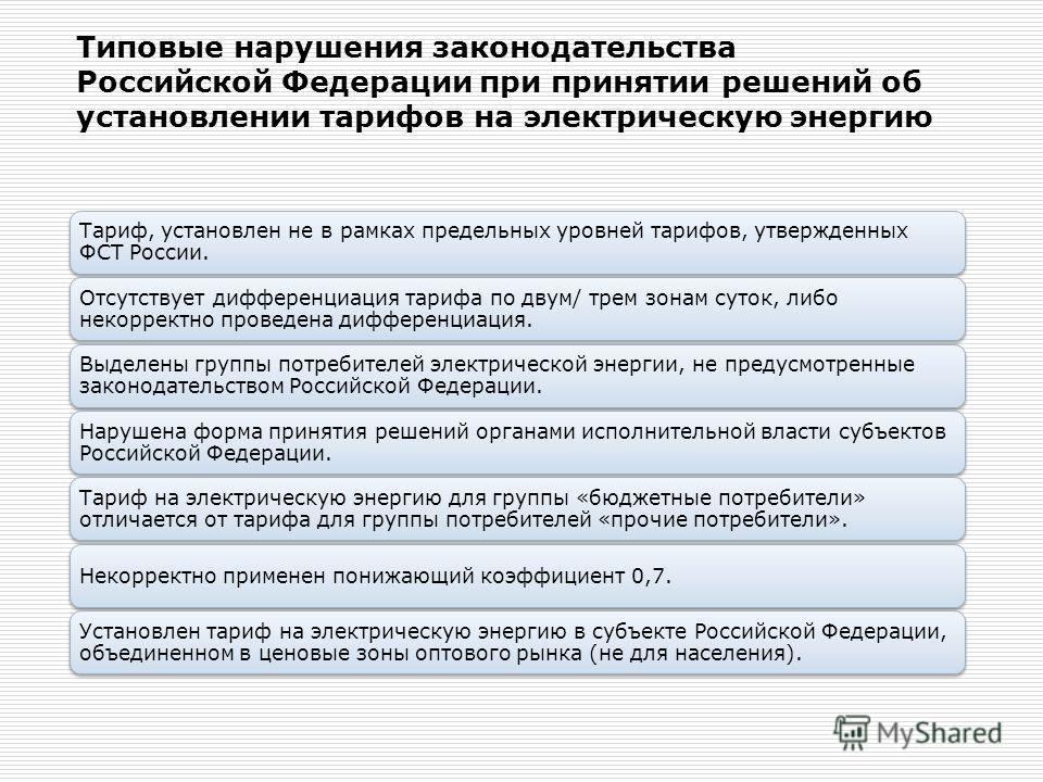 Типовые нарушения законодательства Российской Федерации при принятии решений об установлении тарифов на электрическую энергию Тариф, установлен не в рамках предельных уровней тарифов, утвержденных ФСТ России. Отсутствует дифференциация тарифа по двум
