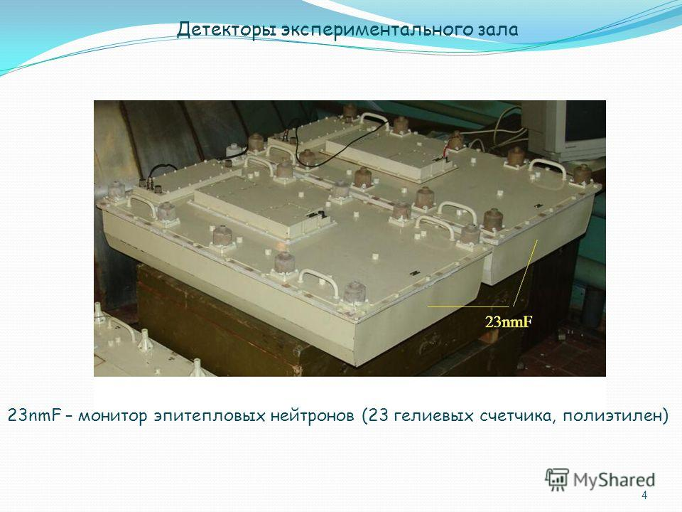 4 23nmF – монитор эпитепловых нейтронов (23 гелиевых счетчика, полиэтилен) Детекторы экспериментального зала