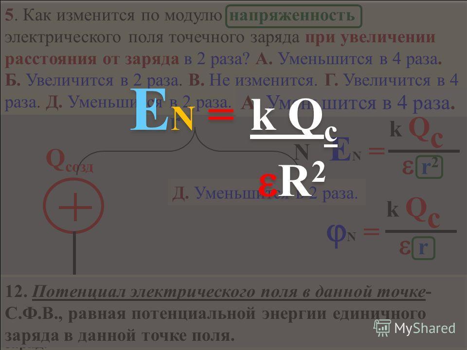 4. Как изменится сила электростатического взаимодействия двух точечных электрических зарядов при перенесении их из вакуума в среду с диэлектрической проницаемостью = 2, если расстояние между зарядами останется неизменным? Запишите з-н Кулона и выбери