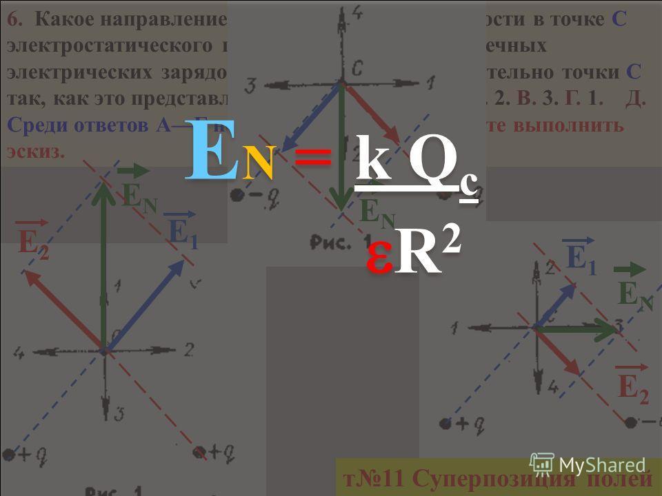 5. Как изменится по модулю напряженность электрического поля точечного заряда при увеличении расстояния от заряда в 2 раза? А. Уменьшится в 4 раза. Б. Увеличится в 2 раза. В. Не изменится. Г. Увеличится в 4 раза. Д. Уменьшится в 2 раза. r N = k Qсk Q