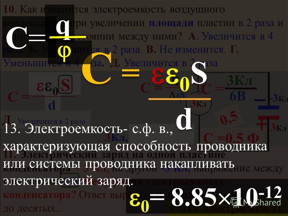 диэлектрики диполь… (нет своб. е ) хаос Е Е ди Е-E ди = Е внутри Е внешн Е внутр = Е ди Е вак Диэлектрическая проницаемость А. М и N нейтральны т 11 Напряжённость ЭП E N = k Q c R 2 E N = k Q c R 2