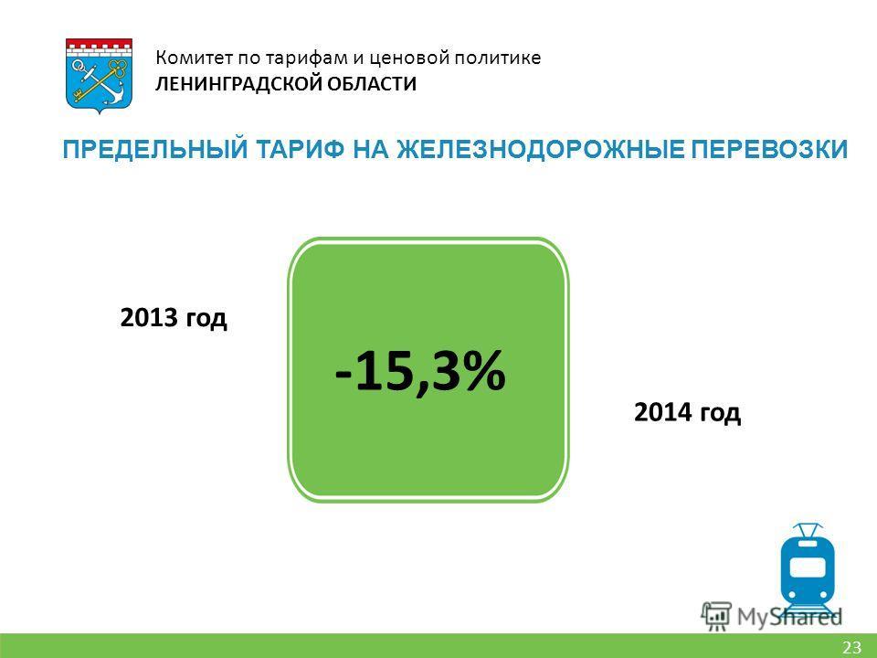 23 Комитет по тарифам и ценовой политике ЛЕНИНГРАДСКОЙ ОБЛАСТИ ПРЕДЕЛЬНЫЙ ТАРИФ НА ЖЕЛЕЗНОДОРОЖНЫЕ ПЕРЕВОЗКИ 2013 год 2014 год -15,3%