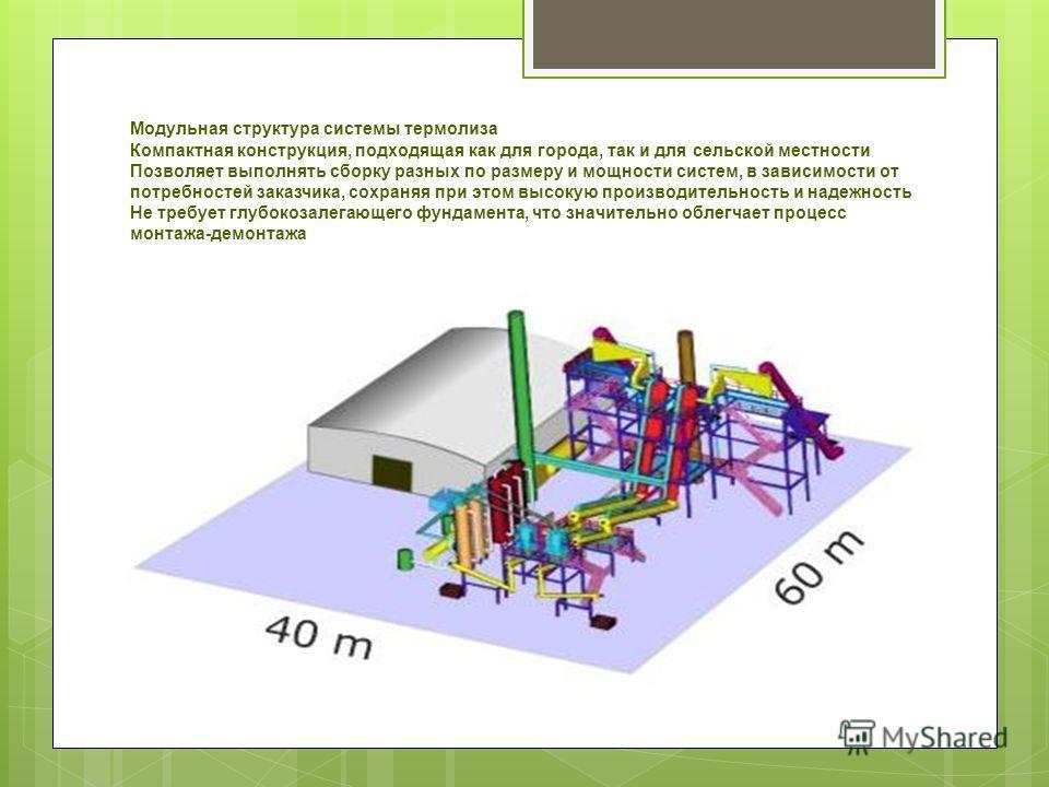 Модульная структура системы термолиза Компактная конструкция, подходящая как для города, так и для сельской местности Позволяет выполнять сборку разных по размеру и мощности систем, в зависимости от потребностей заказчика, сохраняя при этом высокую п