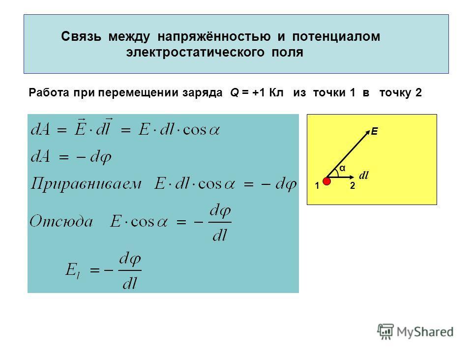 Связь между напряжённостью и потенциалом электростатического поля Работа при перемещении заряда Q = +1 Кл из точки 1 в точку 2 E dl α 12