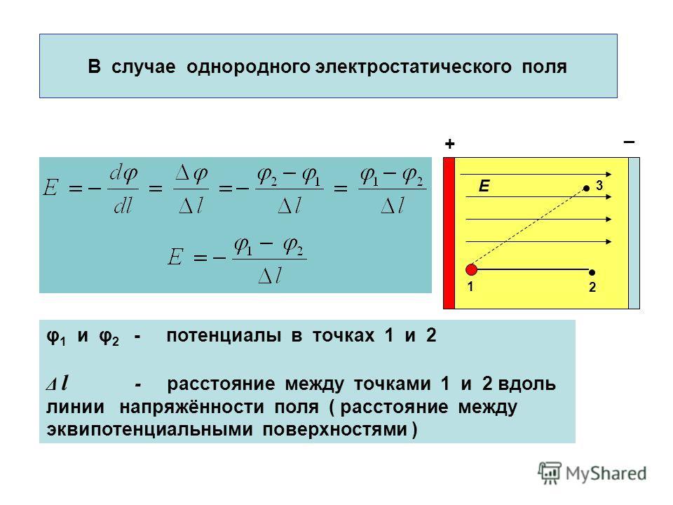 В случае однородного электростатического поля φ 1 и φ 2 - потенциалы в точках 1 и 2 Δ l - расстояние между точками 1 и 2 вдоль линии напряжённости поля ( расстояние между эквипотенциальными поверхностями ) 1 2 3 E + _
