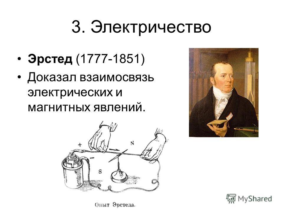 3. Электричество Эрстед (1777-1851) Доказал взаимосвязь электрических и магнитных явлений.