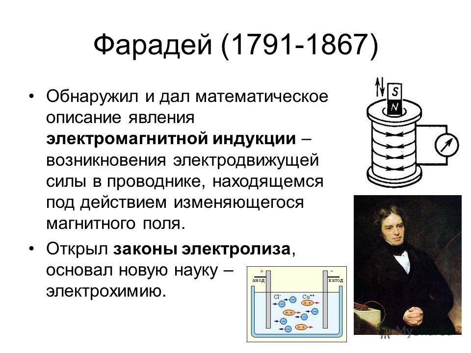 Фарадей (1791-1867) Обнаружил и дал математическое описание явления электромагнитной индукции – возникновения электродвижущей силы в проводнике, находящемся под действием изменяющегося магнитного поля. Открыл законы электролиза, основал новую науку –