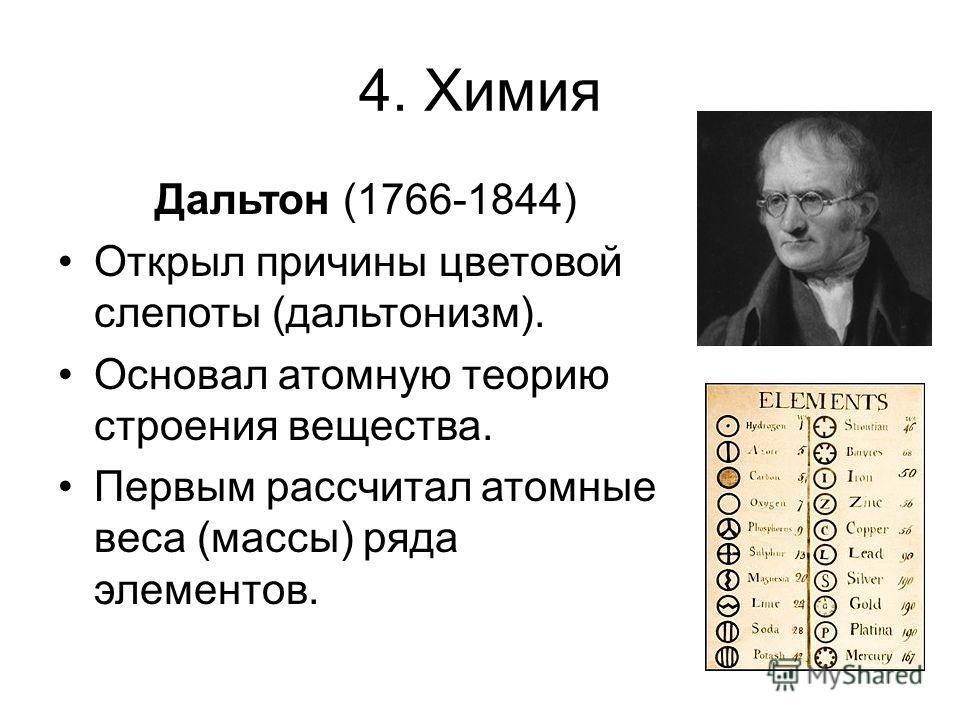4. Химия Дальтон (1766-1844) Открыл причины цветовой слепоты (дальтонизм). Основал атомную теорию строения вещества. Первым рассчитал атомные веса (массы) ряда элементов.