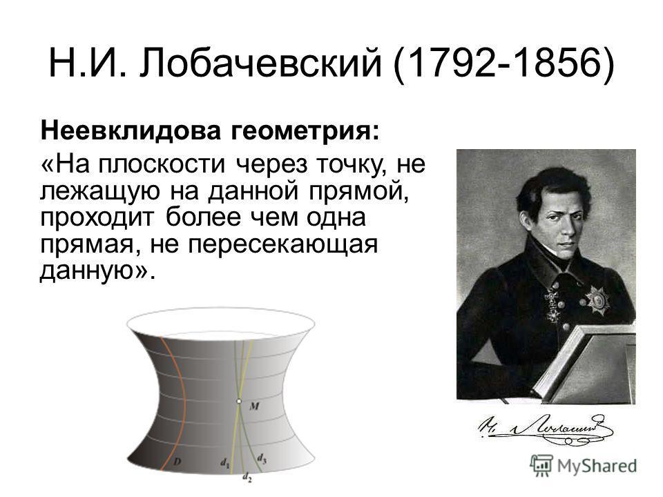 Н.И. Лобачевский (1792-1856) Неевклидова геометрия: «На плоскости через точку, не лежащую на данной прямой, проходит более чем одна прямая, не пересекающая данную».