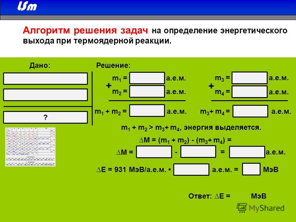 m 1 = а.е.м. m2 =m2 = m3 =m3 = m4 =m4 = + + m 1 + m 2 =m 3 + m 4 = а.е.м. m 1 + m 2 > m 3 + m 4, энергия выделяется. M = (m 1 + m 2 ) - (m 3 + m 4 ) = - = а.е.м. M = E = 931 МэВ/а.е.м. а.е.м. = МэВ ? Дано:Решение: Ответ: E = МэВ Алгоритм решения зада